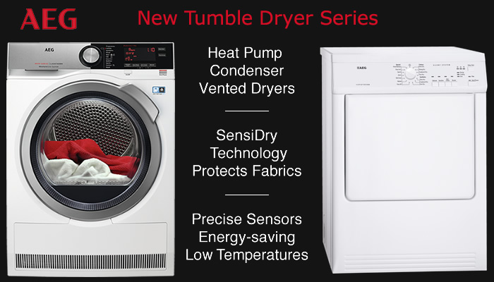 Compare AEG tumble dryer prices vented condenser heat pump tumble dryers with sensors
