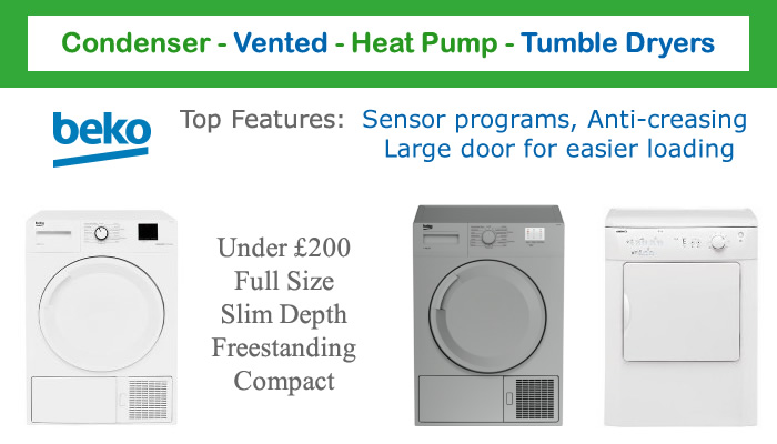 Compare Beko tumble dryer prices vented condenser heat pump and slim depth tumble dryers with sensors