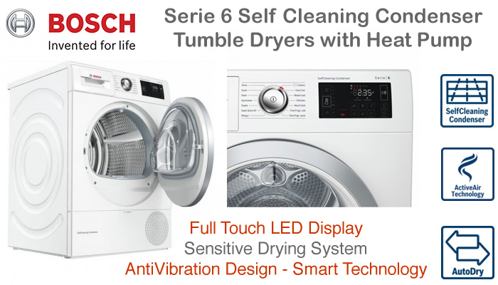 Compare Bosch tumble dryer prices vented condenser heat pump and slim depth tumble dryers with sensors