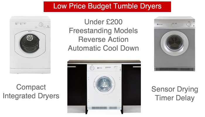 Compare tumbles dryers under £200 Cheap vented and condenser dryers