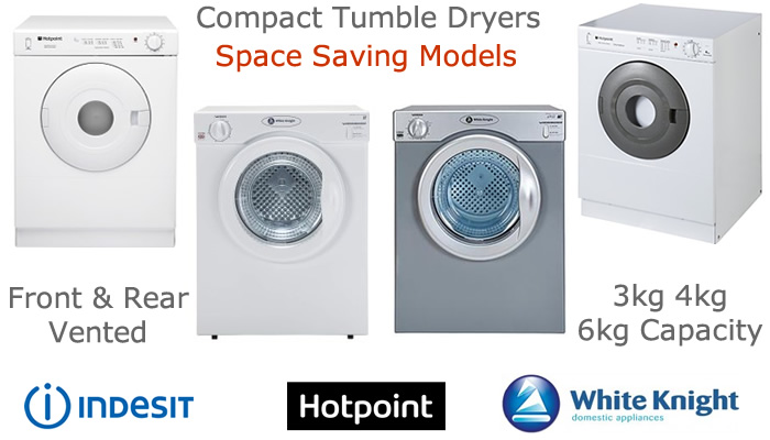 Compare 3kg and 4kg vented compact tumble dryers prices
