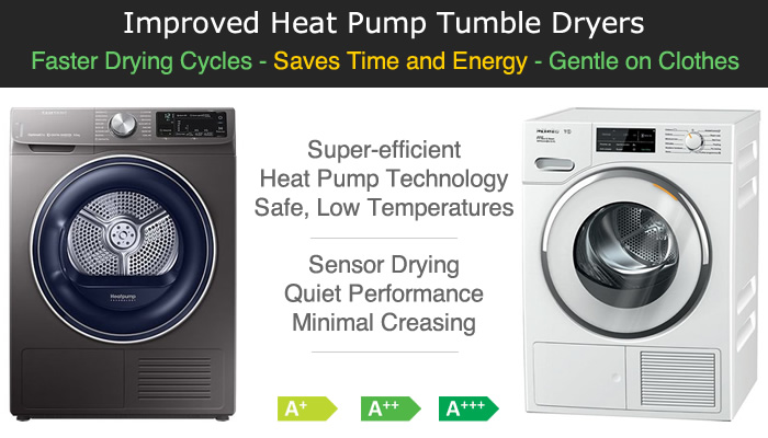 Compare heat pump tumble dryers prices quiet quick drying with smart control