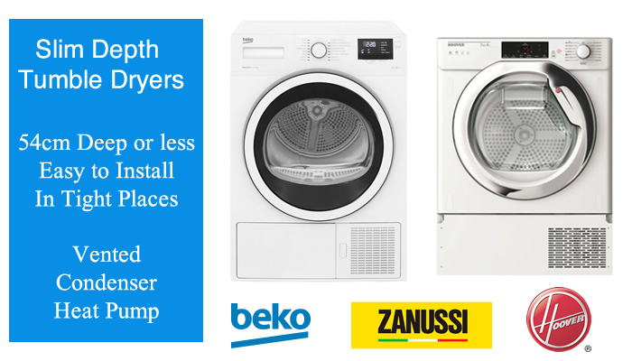 Compare prices of slim tumble dryers with depth 54cm and Under
