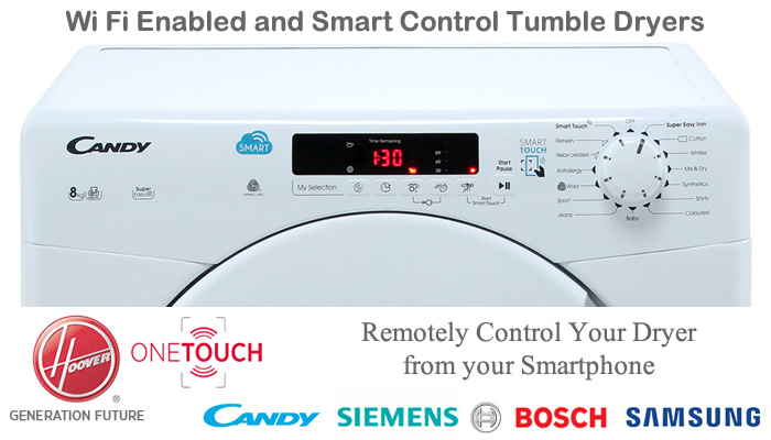 Compare wifi enabled smart tumble dryers prices find self cleaning quick dryers