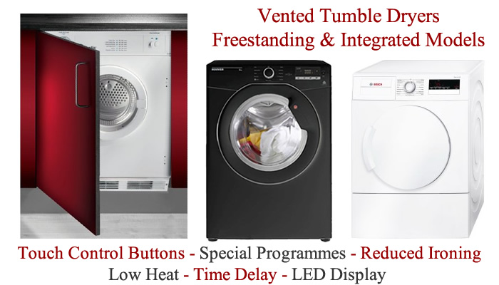 Compare vented tumble dryers prices Find dryers with rear or front venting hose