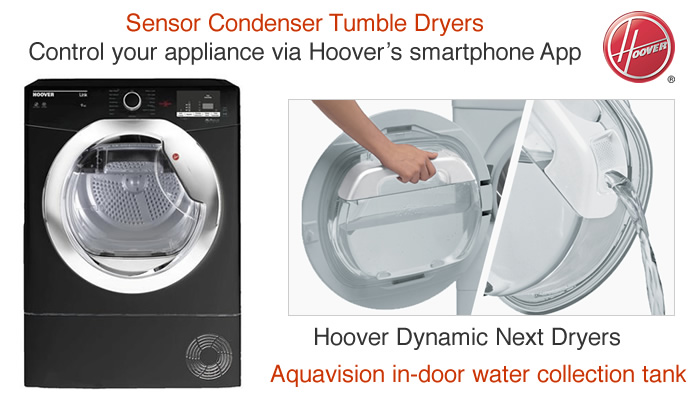 Compare Hoover tumble dryer prices vented condenser heat pump and wifi connected smart tumble dryers with sensors