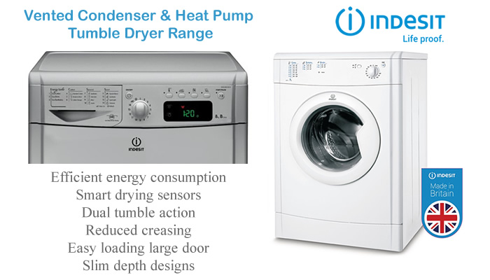 Compare Indesit tumble dryer prices compact 4kg vented condenser heat pump large 9kg tumble dryers with sensors