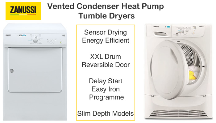 Compare Zanussi tumble dryer prices compact 3kg, vented, condenser and gas tumble dryers